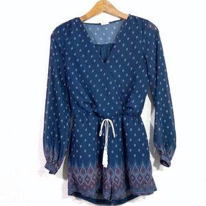 🌵Japna Blue Boho Print Long Sleeve V-Neck Romper